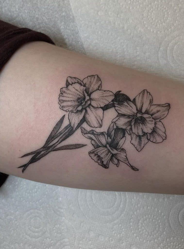 Black & Grey Daffodil Tattoo