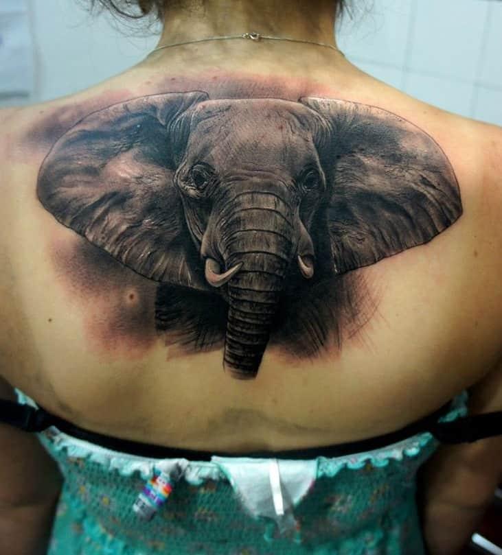Black & Grey Elephant Head Tattoo