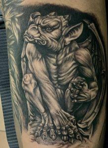 Black & Grey Gargoyle Tattoo