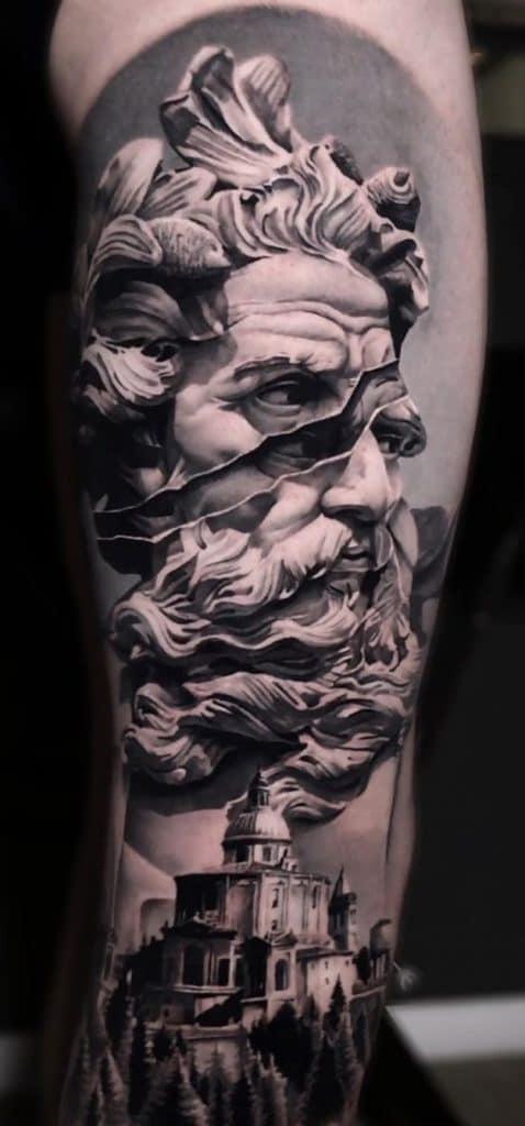 Black & Grey Poseidon Tattoo