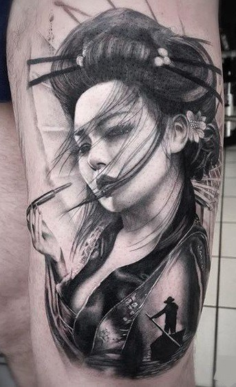 Black and Grey Geisha Tattoo