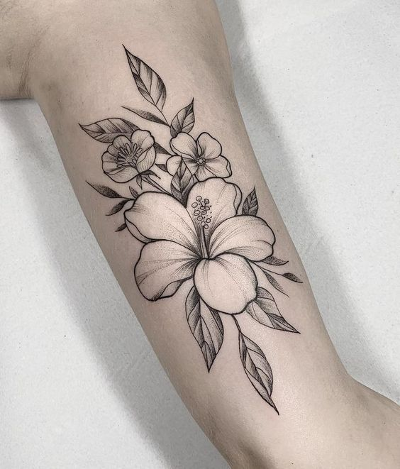 Black and Grey Hibiscus Tattoo