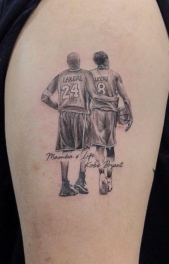 Black and Grey Kobe Bryant Tattoo