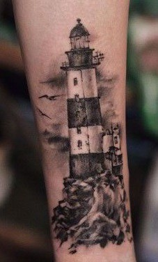 Black and Grey Lighthouse Tattoo