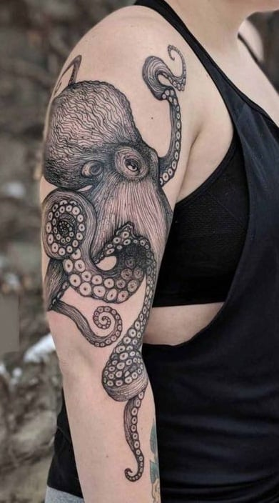 Black and Grey Octopus Tattoo