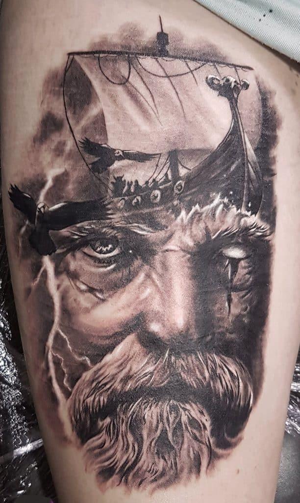 Black and Grey Odin Tattoo