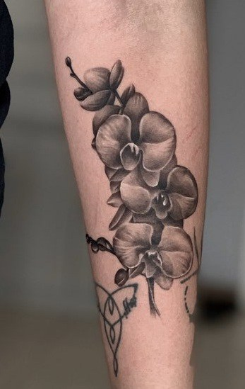 Black and Grey Orchid Tattoo