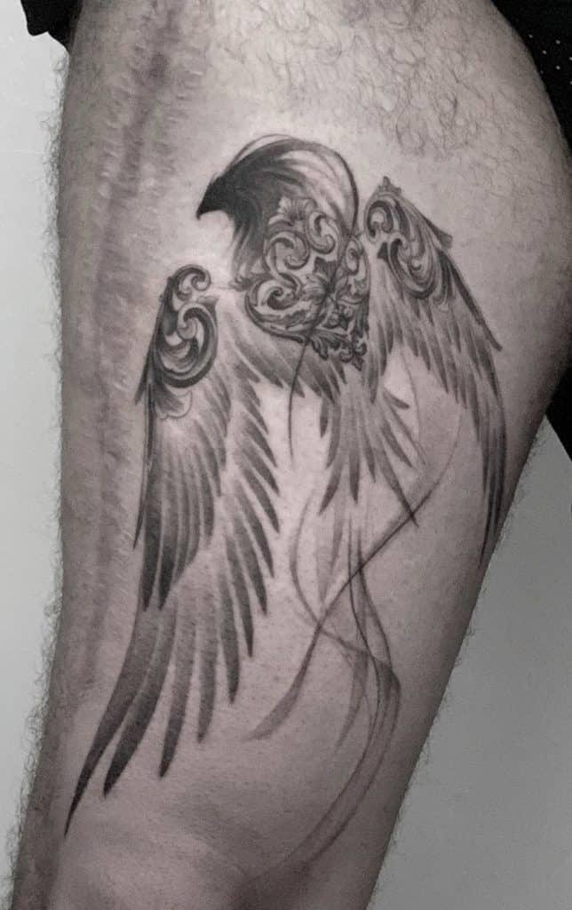Black and Grey Phoenix Tattoo