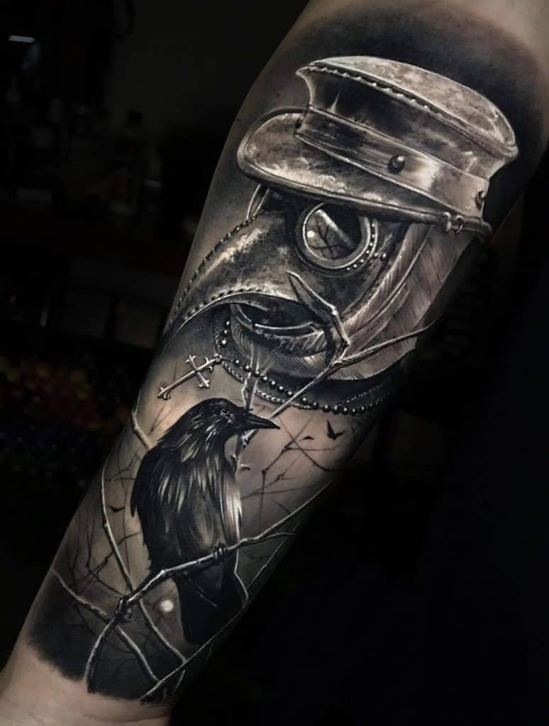 Black and Grey Plague Doctor Tattoo
