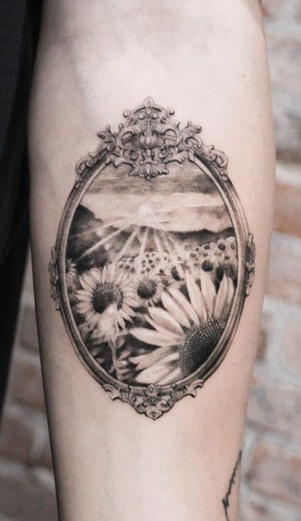 Black and Grey Sunflower Tattoo