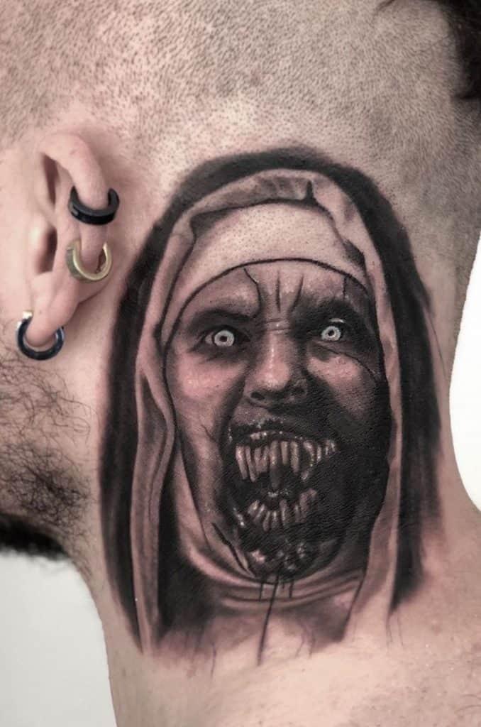 Black and Grey Valak Tattoo