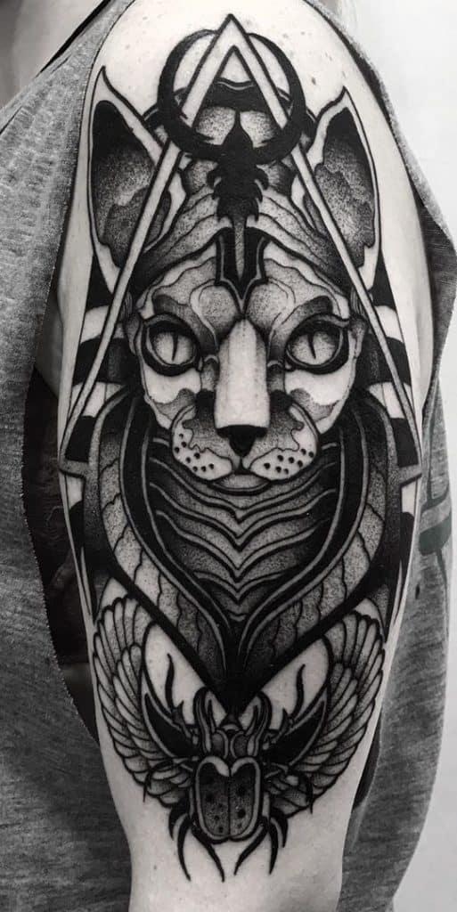 Black-work Bastet Tattoo