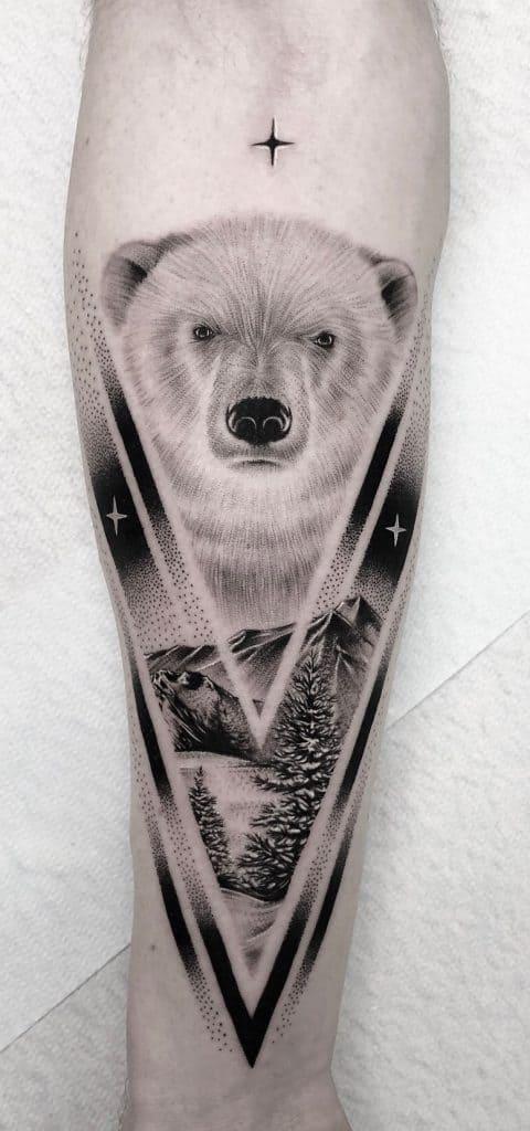 Black-work Bear Tattoo