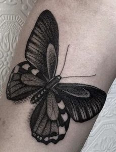 Black-work Butterfly Tattoo