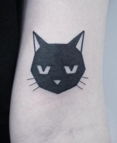 Black-work Cat Tattoo