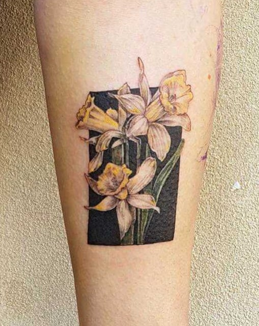Black-work Daffodil Tattoo