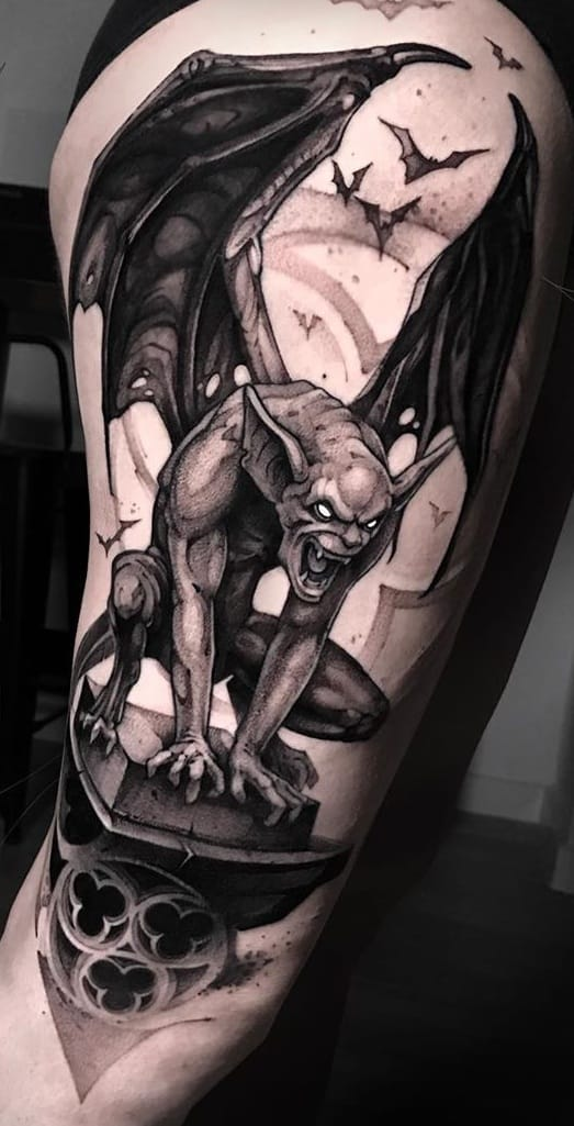 Black-work Gargoyle Tattoo