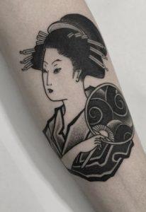 Black-work Geisha Tattoo