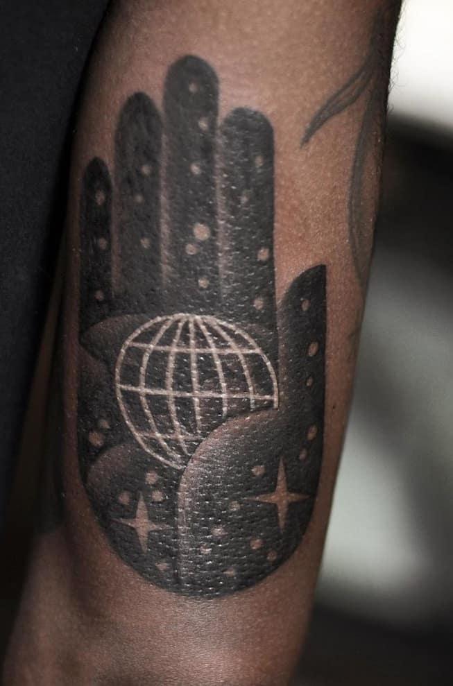 Black-work Hamsa Tattoo