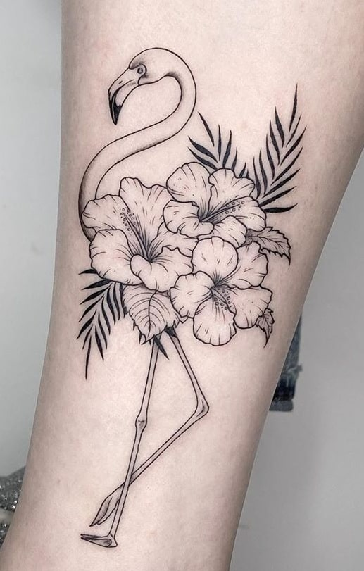 Black-work Hibiscus Tattoos