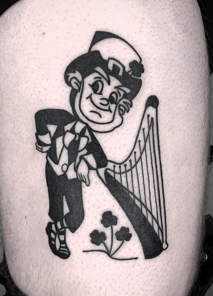 Black-work Leprechaun Tattoo