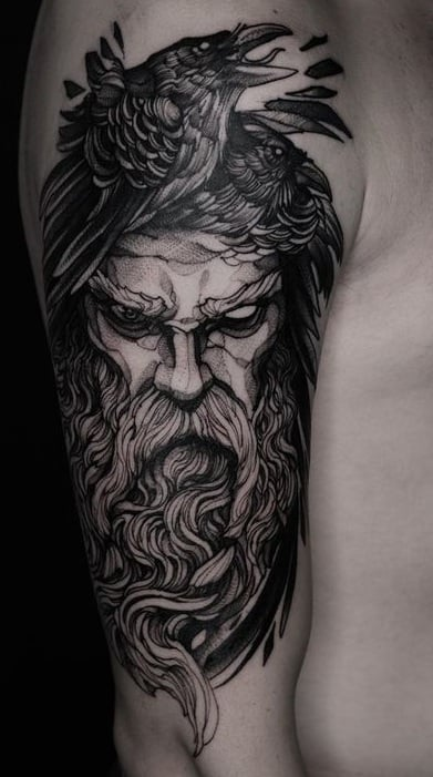 Black-work Odin Tattoo