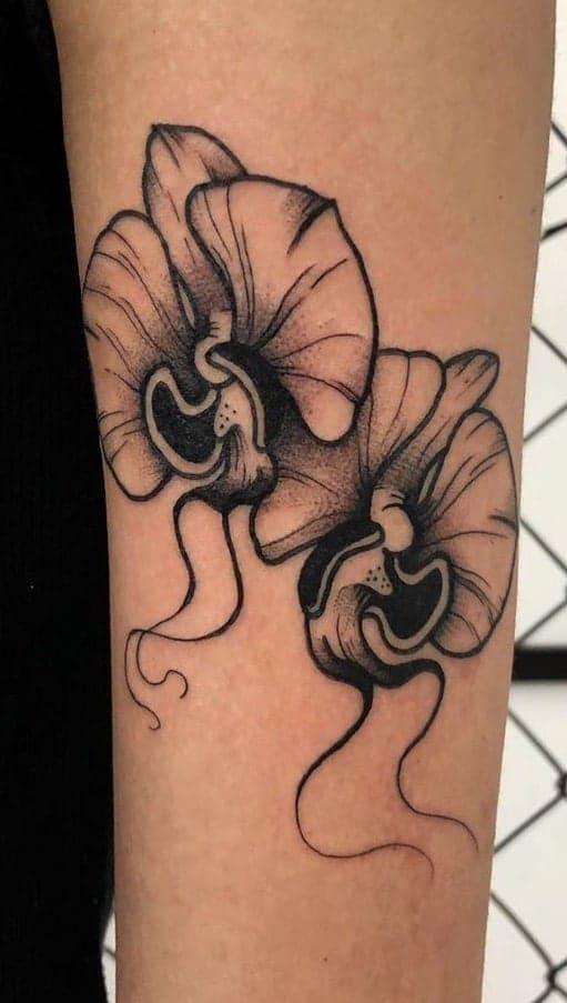 Black-work Orchid Tattoo
