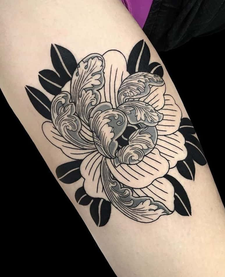 Black-work Peony Tattoo