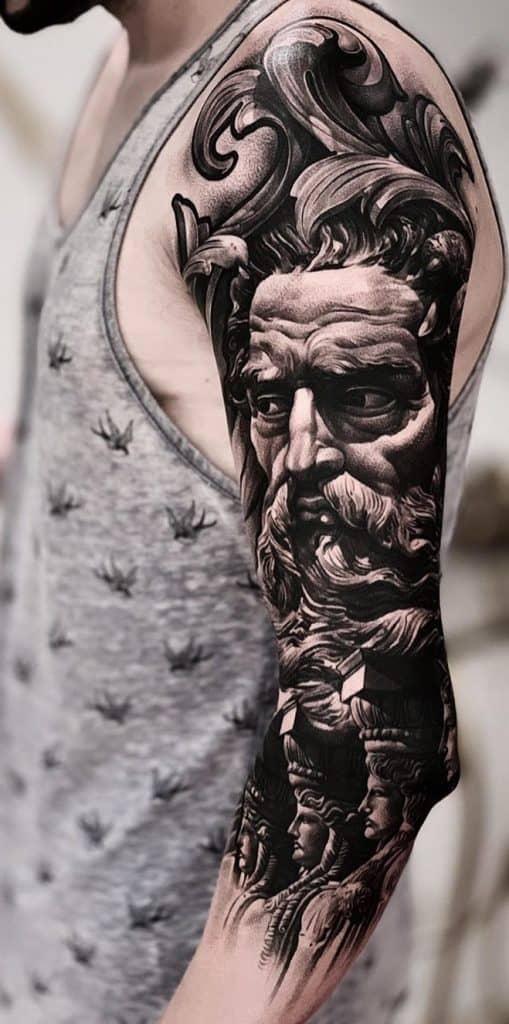 Black-work Poseidon Tattoo