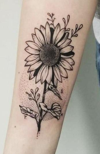 Black-work Sunflower Tattoo