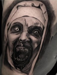 Black-work Valak Tattoo