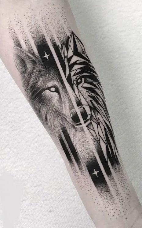 Black-work Wolf Tattoo