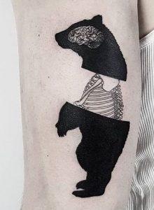 Blackwork Bear Tattoo