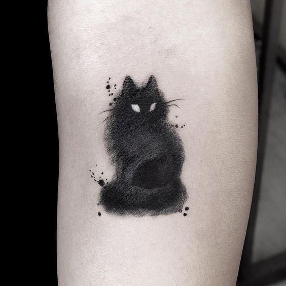Blackwork Cat Tattoo