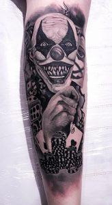 Blackwork Evil Clown Tattoo