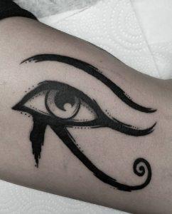 Blackwork Eye Of Horus Tattoo