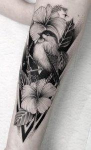 Blackwork Hibiscus Tattoo