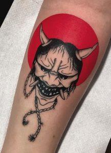 Blackwork Oni Mask Tattoo