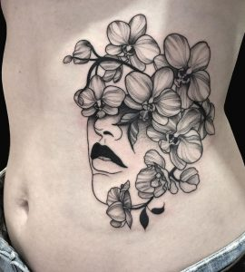 Blackwork Orchid Tattoo