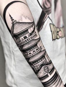 Blackwork Pagoda Tattoo