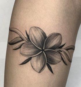Blackwork Plumeria Tattoo