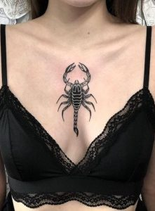 Blackwork Sternum Tattoo