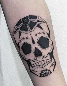 Blackwork Sugar Skull Tattoo