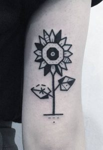 Blackwork Sunflower Tattoo