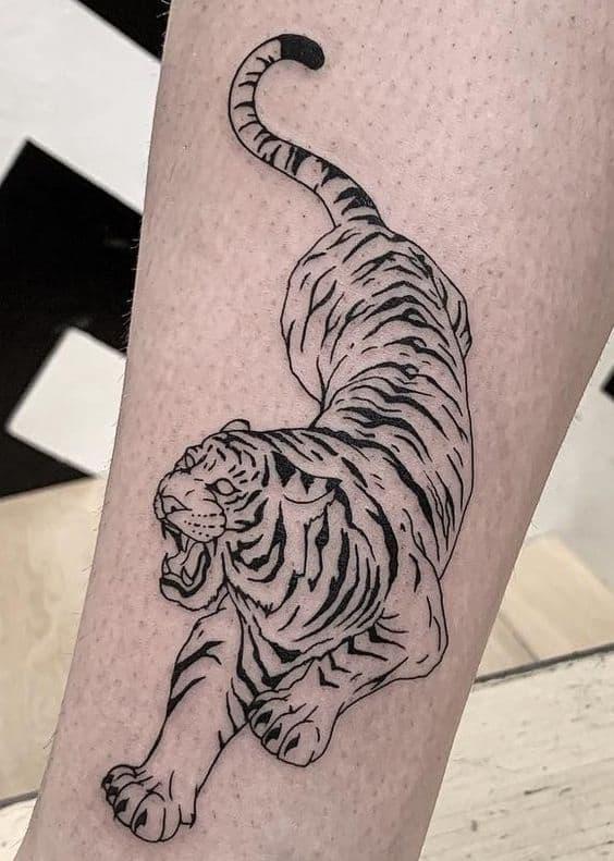 Black-work Tiger Tattoo