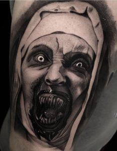 Blackwork Valak Tattoo