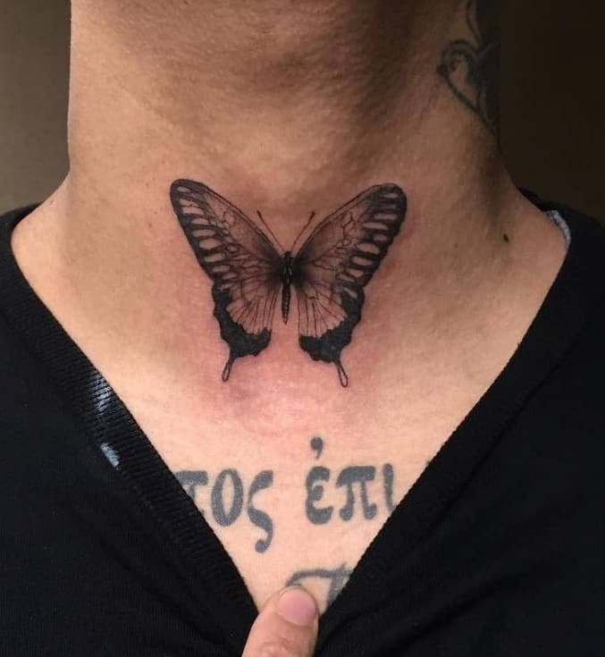 Butterfly Tattoo on Throat