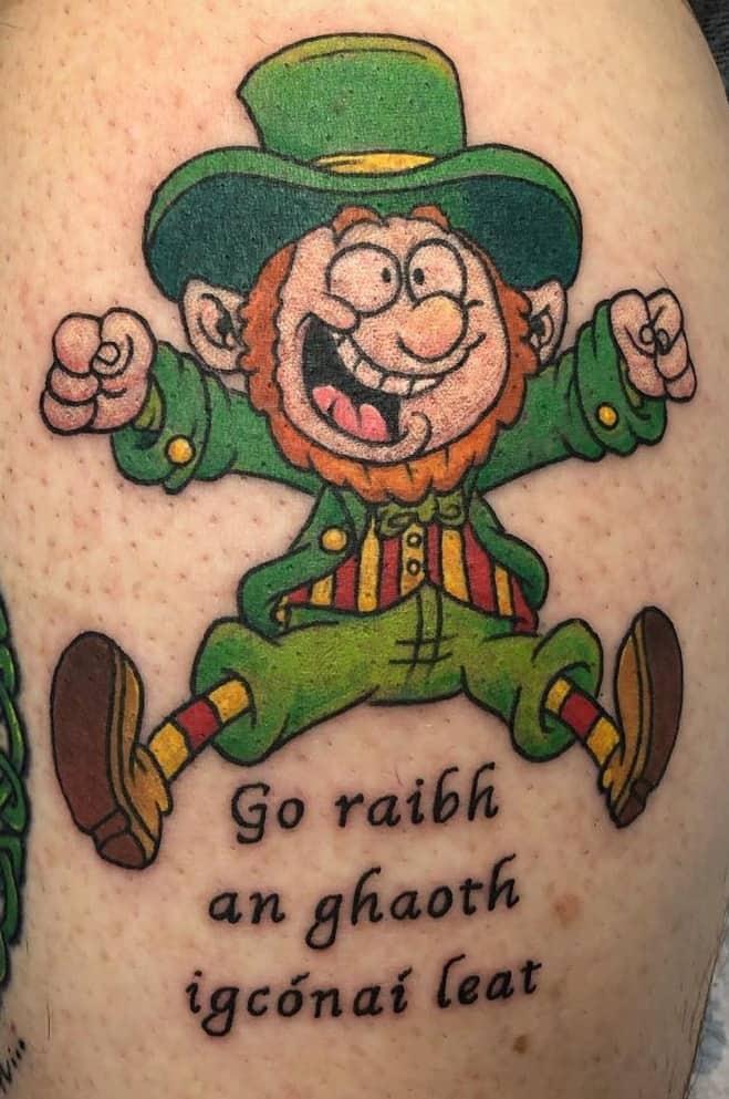 Cartoon Leprechaun Tattoo