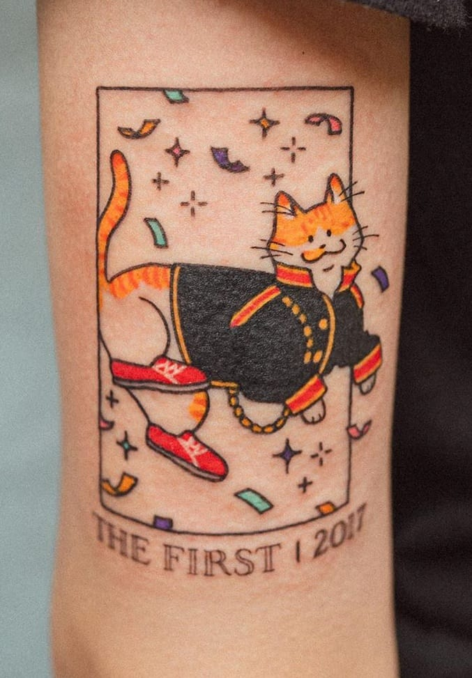 Cat With Lettering Tattoo