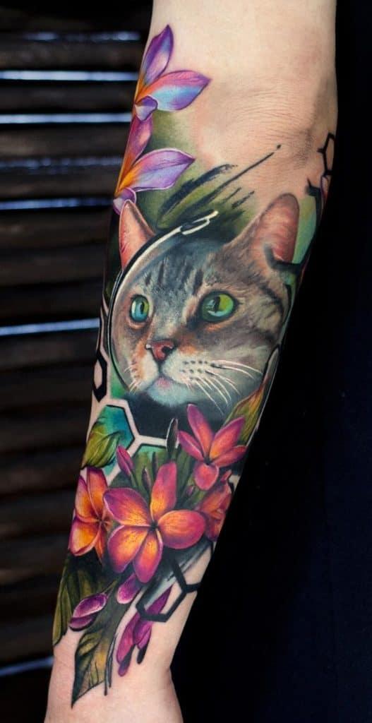 Cat Tattoo with Flower Tattoo